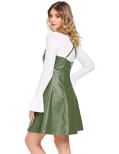 Damen Lederkleid Ärmellos Partykleid Wetlook Knielangkleid Clubwear LederKleider Frauen Spagettiträger Kleid Grün