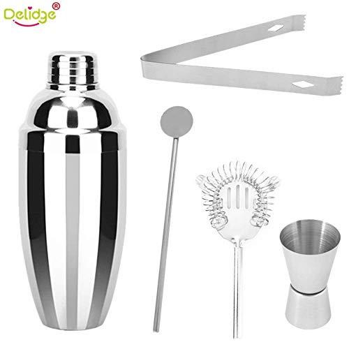 Delidge Cocktail-Shaker-Set, Edelstahl, 5-teilig, 750 ml, mit Martini-Shaker, Jigger, Schnapsglas, Rührlöffel, Barzubehör, Barzubehör und Bartender Geschenk-Set -