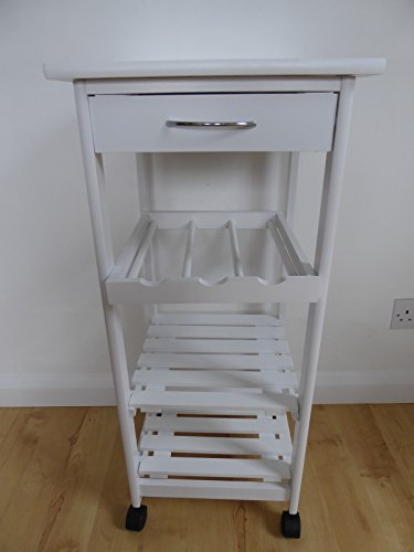 Weiß Küche Trolley Beistelltisch mit Rollen Schublade Einlegeböden aus Holz und Wein Rack (Schublade Wein)