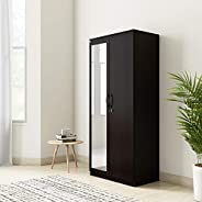 Amazon Brand - Solimo Vega Engineered Wood 2 Door Wardrobe  with Drawer & Full Mirror (Espresso Fin
