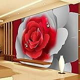VVNASD 3D des Autocollants Peintures Murales Mur Fond D'Écran Décorations Chambre À Coucher Romantique Salon De Décoration De Fleur Rose Rouge Art des Gamins Chambres À Coucher (W) 300X(H) 210Cm...