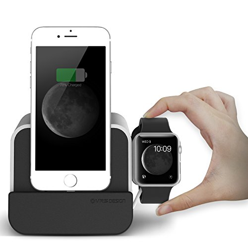 VRS Design® i-Depot Plus 2 in 1 Lade-Dock für iPhone Modelle und Apple-Watch | Silber | Handy-Halter | Ständer | Docking-Station | Charger-Hub