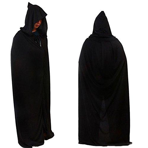 Schwarz Kapuzenumhang Halloween Kostüme Erwachsene Tod Reaper Dämon 1.7M