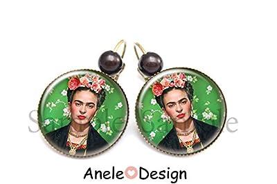 Boucles d'oreilles Frida Kahlo et les fleurs artiste peintre cadeau