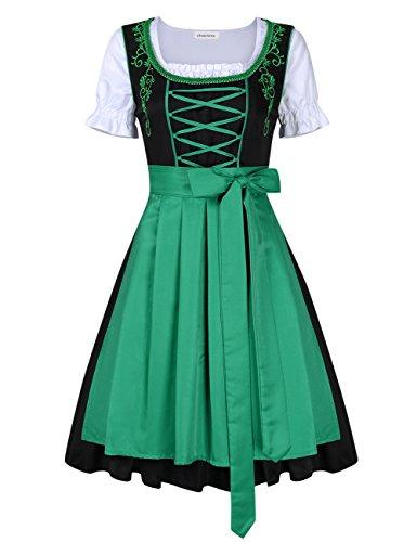 Clearlove Dirndl 3 tlg.Damen Midi Trachtenkleid für Oktoberfest,Stickerei Kleid&Bluse&Schürze, Blau,Schwarz (44, Green)