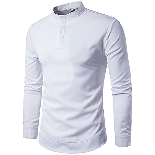 Haroty Chemises Tshirt Pullover Slim Fit Homme Fashion Casual Manches Longues Col Mao Simple Uni Chic Tops avec Bouton Business Tunique Sizes M-XXL (XL, Blanc)