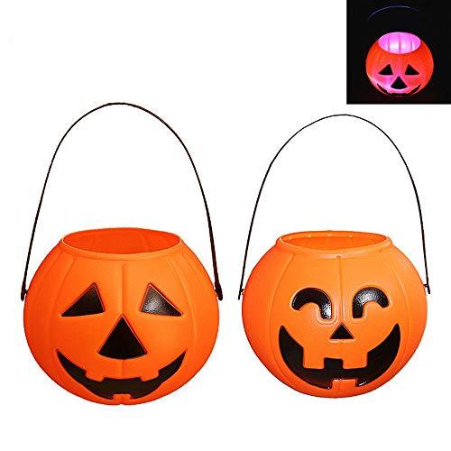 EXQULEG 2 pcs Halloween tragbare Kürbisse, Halloween Candy Jar LED Licht kunststofft Laterne Party Requisiten für Kinder (Laternen Halloween Jar)
