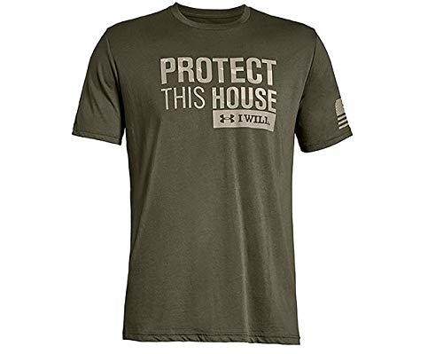 Under Armour Herren Freedom Pth T-Shirt kurzärmelig, Marine Od Green (390)/Desert Sand, Medium -
