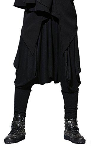 ELLAZHU Herren Winter Baggy Elastisch Taille Haremshose Einheitsgröße GYM22 A, Schwarz, Einheitsgröße