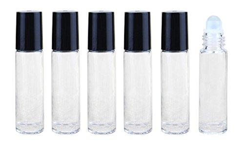 6pcs 0.34oz/10ml leere Flasche Glas klar Roll On Vial mit Glas Gläser mit Roller Bälle, ätherische Öle Lip Gloss-Halter.