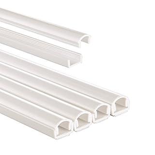Hama Kabelkanal selbstklebend PVC (Kabelabdeckung halbrund, 1,1 cm x 100 cm, bis zu 2 Kabel pro Leiste, insgesamt 4 Kabelkanäle) weiß