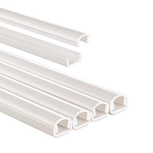 Hama Kabelkanal selbstklebend PVC (Kabelabdeckung halbrund, 1,1 cm x 100 cm, bis zu 2 Kabel pro Leiste, insgesamt 4 Kabelkanäle) weiß -