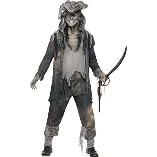 Smiffys Herren Geister-Pirat Kostüm, Mantel, Hose und Hut, Größe: L, 21331