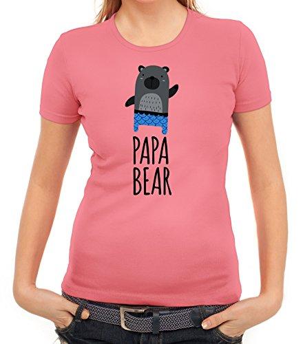 Geschenkidee Damen T-Shirt mit Papa Bear Motiv von ShirtStreet Rosa