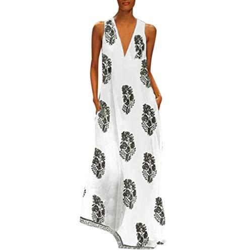 MRULIC Damen Blumen Maxikleid Bohemian A-Linie Lang Kleider Sommerkleid Partykleid V-Ausschnitt ärmellos Strandkleider Boho Lange Bohemian Kleid(D-Schwarz,EU-40/CN-L)