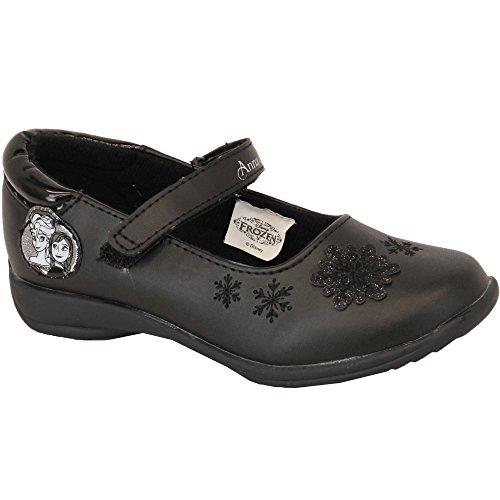 Filles ANNA ELSA Chaussures D'école Frozen Ballerine Tout-petits Disney Verni Velcro Neuf Noir - FROWELD
