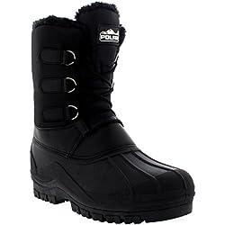 Hombre Cordones Corto Nylon Invierno Nieve Lluvia Cordones Pato Botas - BLK42 - AYC0141
