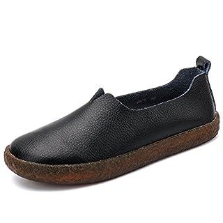 ALEADER Women's Classic Leather Flat Shoes Slip On Memory Foam Cushioned Loafers Ladies Mocassins, Black, 7 UK