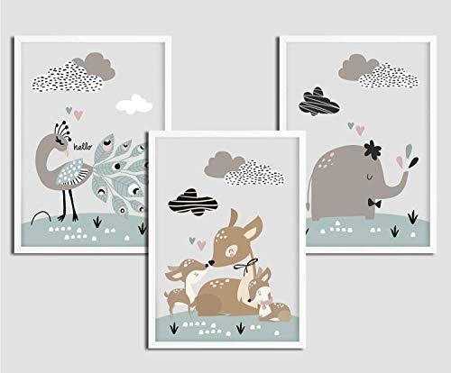 3er Set Kinderbilder Mädchen Tiere, A4 Kinder Bilder Kinderzimmer mit Rahmen in Weiß, Kinderposter Kinderzimmer, Bild Babyzimmer, Mint, Reh, Elefant