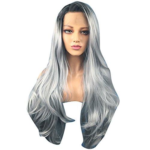Providethebest Frauen in Schwarz Grau verlaufend Vordere Spitze Langen lockiges-Fälschungs-Haar-Dame-Kostüm-Party-Faser Perücke (Haar Kostüme Lockiges)