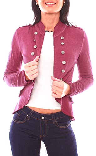 Damen Vintage Uniform Military Admiral Style Sweat Jersey Blazer Sakko Jacke Kurz Knopfleiste Offen Einfarbig XS - 34 (S) Bordeaux