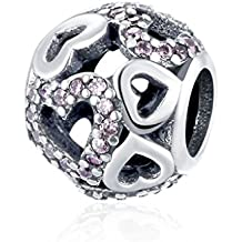 HMILYDYK elegante colgante de corazón Bead circonita cristal 925plata de ley para pulsera de Pandora encantos