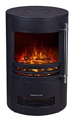FoxHunter Electric Log Burner | Steel Flame Effect 3D Heater | Vintage Cast Iron Indoor Home Freestanding WoodBurner Fireplace | Coal Burner Fire Fake Flame | 2000W - 189 Black