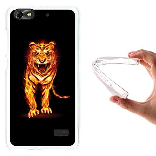 Huawei G Play Mini - Huawei Honor 4C Hülle, WoowCase Handyhülle Silikon für [ Huawei G Play Mini - Huawei Honor 4C ] Abstrakter Feuertiger Handytasche Handy Cover Case Schutzhülle Flexible TPU - Transparent