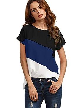Gusspower Blusa Casual de Manga Corta de Gasa de Color Block Empalme Para Mujer Cuello O Blusas de Túnica Camiseta...