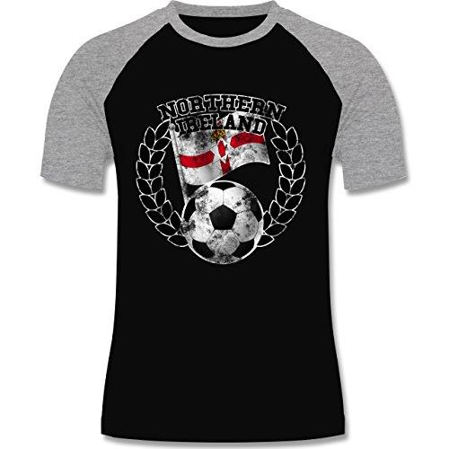 EM 2016 - Frankreich - Northern Ireland Flagge & Fußball Vintage - zweifarbiges Baseballshirt für Männer Schwarz/Grau Meliert