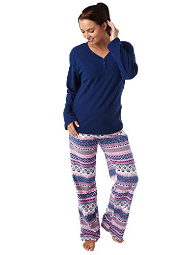 femmes impression géométrique Supersoft chaud polaire Pyjama Geo marine ou marine vérifier Navy