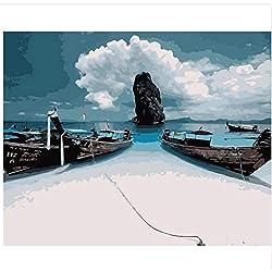 LIWEIXKY Rahmenloses Ölgemälde Thailand In Der Nähe Von Sea Gemälde Nach Zahlen Malen Leinwandbilder Für Das Wohnzimmer 40X50Cm