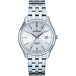 GROVANA 1568.1132 Men's Quartz Swiss Watch with Silver Dial Analogue Display and Silver Stainless Steel Bracelet
