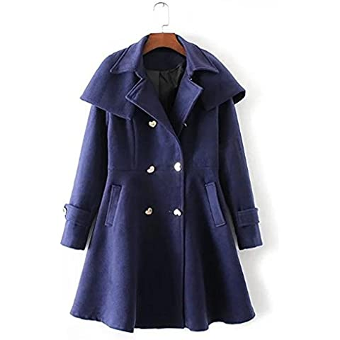 YUYU Chaqueta delgada azul de la manera Señora de ocio de invierno de lana Escudo de manga larga , l , treasure