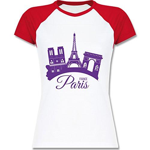 Skyline - Skyline Paris Frankreich France - zweifarbiges Baseballshirt / Raglan T-Shirt für Damen Weiß/Rot