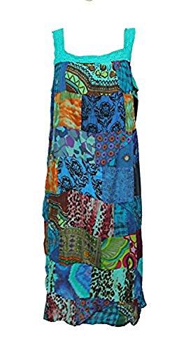 Robe Mi-longue Patchwork, Bretelles Finition Crochet - Taille Unique (38/44) Bleu