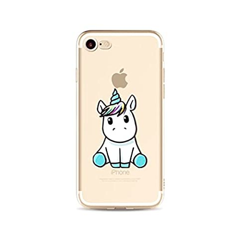 iphone SE 5 5S' Coque Housse Etui Casse Cover cas cassette couverture Couvrir Coquille shell Caoutchouc Ultra-mince JINCHANGWU Transparent Anti Choc Soft TPU Doux Silicone Bumper Case-- lovely licorne Unicorn