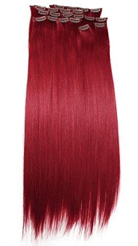 Prettyshop xxl set 8 pezzi clip nelle estensioni estensione dei capelli parte dei capelli fibra sintetica termoresistente liscio 60 cm profondo rosso # 3100 ces9
