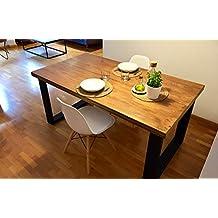 f7f9f1635de7d Mesa de comedor de madera y hierro estilo industrial