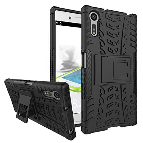 Casodon Sony Xperia XZ, Back Cover, Real Hybrid Shockproof Bumper Defender Cover, Kick Stand Back Case Cover for Sony Xperia XZ