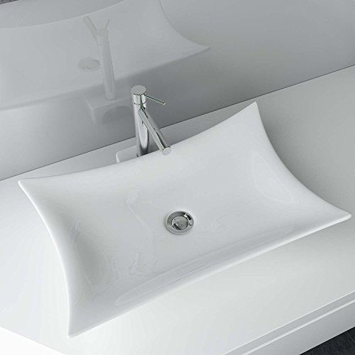 Waschbecken24 Design Keramik Waschtisch Aufsatz Waschbecken Waschplatz für Badezimmer Gäste WC A68