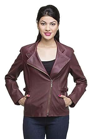 Lambency Women Full Sleeve Faux Leather Tan Jacket (Cherry, Medium)
