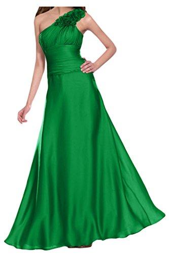 Gorgeous Bride Elegant Ein-Traeger Lang Empire Satin Blumen Abendkleid Festkleid Ballkleid Grün