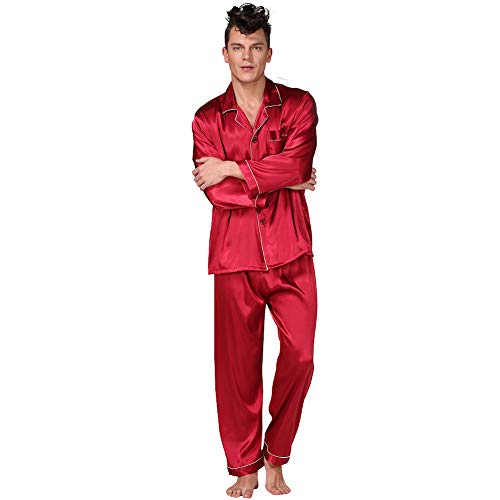 Männer Schwarz Seidenpyjamas Frühling Sommer Langarm Einfarbig Anzug Größe Trainingsanzug Bademantel Morgen Kleid Freizeit Herren,red,L