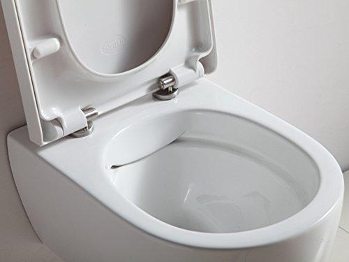 Design Hänge WC Spülrandlos Toilette inkl. WC Sitz mit Softclose Absenkautomatik + abnehmbar SSWW - 3