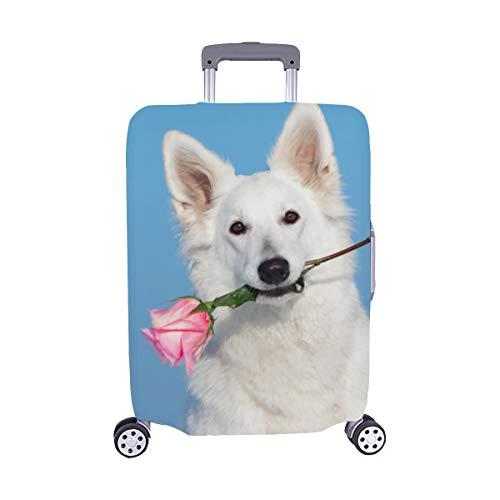 Hund liegt im Bett voller roter Blumenmuster Spandex Trolley Reisegepäck Beschützer Koffer Cover 28,5 X 20,5 Zoll -