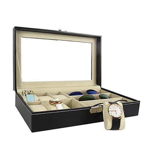 Cvbndfe Elegant Damen Leder Multifunktions-Sonnenbrille Aufbewahrungstasche, mehrere Gläser Gläser Vitrine