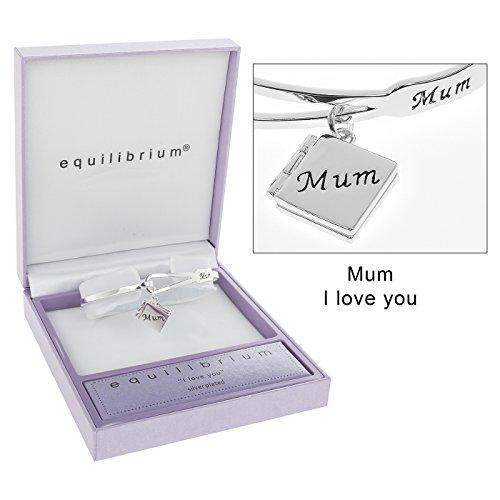 "Equilibrium-Charm placcato in argento, design a Bracciale con scritta ""Mum"""