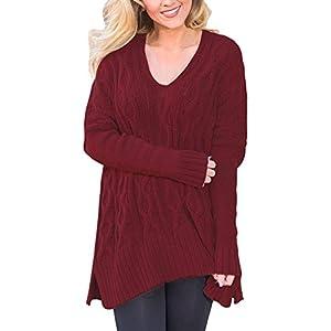 Lylafairy Damen Asymmetrisch Elegant V-Ausschnitt Langarm Pullover Strick Sweater