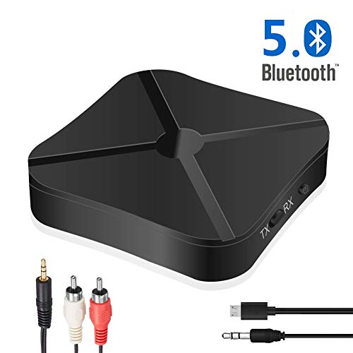 Adattatore Bluetooth 5.0, Trasmettitore Ricevitore Bluetooth 2 in 1 mini RCA & 3.5mm AUX A2DP Bassa latenza Altoparlanti Stereo TV auto PC Tablet Laptop Sistema sonoro Altoparlanti cablati